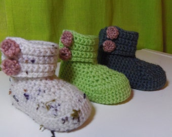 Crochet button baby boots in a range of 8 colours