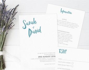 Brushstroke Wedding Invitation Set. Modern wedding invites. Simple wedding invitation set.