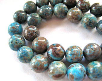 Calsilica Jasper, 20 beads, teal and brown - #123