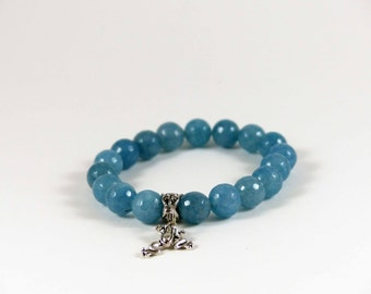 Blue Agate Stretch Bracelet with Frog Good Luck Charm