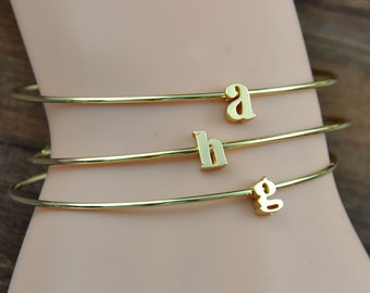 Personalized Lowercase Letter Jewelry, Initial Bracelet, Simple Letter, Monogram Bracelet, Monogram Jewelry, Initial Jewelry, Wedding gift