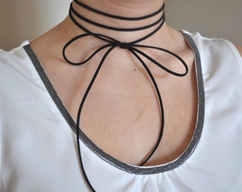 Tie Up Choker Necklace. Bow Choker. Black Suede Choker. Double Wrap Choker Necklace. Layered Choker. Double Band Choker Necklace.