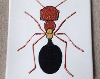 Ceramic Tile Painting, Original. Gold, copper and black ANT bug creepie crawley insect plaque