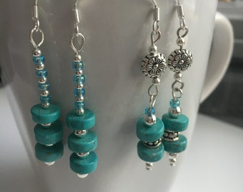 Turquoise earrings stone dangles Birthday gift Anniversary gift Valentine gift Mother's Day gift Christmas gift gift for women
