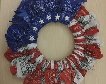 American Flag Bandana Wreath