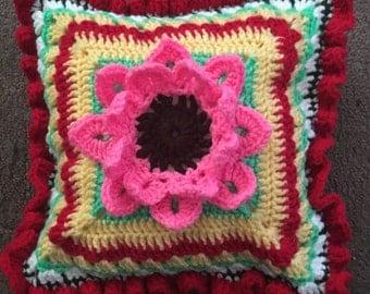 Crocheted Folk Art Mexican Pillow 10x10""