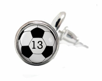 Soccer Earrings, Personalized, Soccer Gift, Team, Soccer Mom, Sports Jewelry, Soccer Number