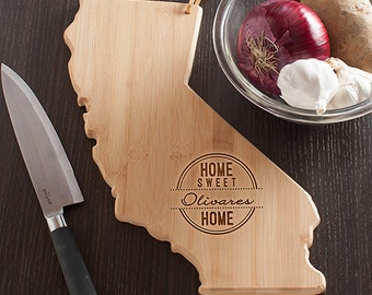 California State Shaped Cutting Board, Engraved California Shaped Cutting Board
