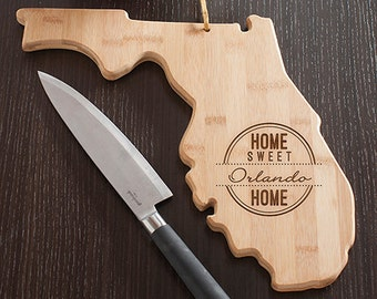 Florida State Shaped Cutting Board, Engraved Florida Shaped Cutting Board