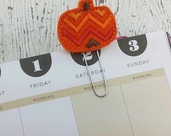 Chevron Pumpkin Planner Clip