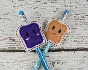 Peanut Butter and Jelly Pencil Toppers - Classroom Prizes - Party Favor - Party Supplies - Small Gift - Back to School