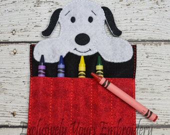 Peanut Dog Crayon Holder, Toddler Arts and Crafts, Back To School, Travel Case