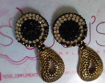 Black-Gold Little Crystals Earrings