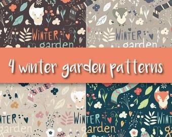 4 Winter Garden Seamless Patterns