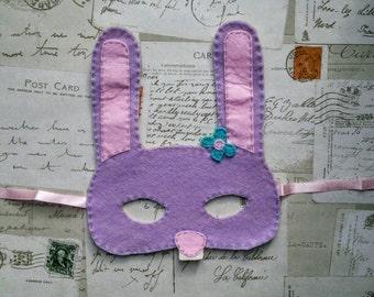 River the Rabbit handmade woodland felt children's mask.