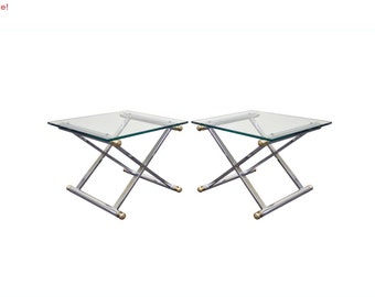 10% Off Sale! Pair of Vintage Mid Century Modern Hollywood Regency Chrome & Brass X Form Side Tables