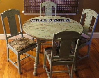 COTTAGE TABLE/CHAIR Set/Cottage Furniture/Farmhouse Table/Distressed Furniture/Chalk Furniture/Re purposed Furniture