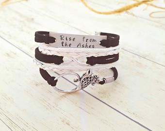 Phoenix Bracelet, Phoenix Jewelry, Hand Stamped Quote Bracelet, Infinity Bracelet, Gift for Her, Affirmation Jewelry, Strength Bracelet