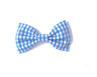 Blue gingham cotton bow