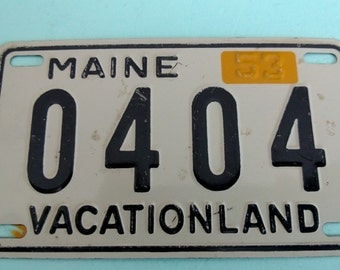 Vintage Wheaties Maine Bicycle License Plate 1953 Free Shipping