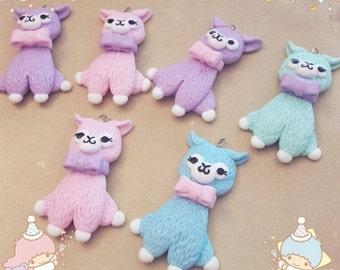 Cute alpaca necklace ring pastel fairy kei lolita