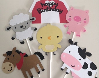 6 Piece Farm Animal Centerpiece Set | Farm Party Decor | Barn Yard Centerpiece Decor | Country Party Decor