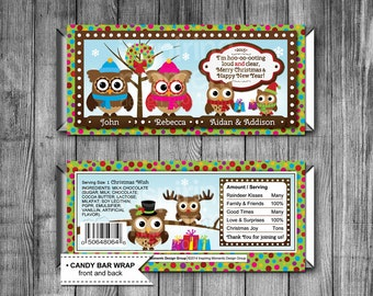 Owl Christmas Candy Bar Wrappers | Printable | Personalized | Hershey Bar Wrapper | Favor Tags | Christmas Classroom Gifts | Download