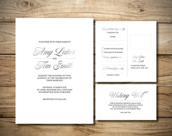 Classic White Wedding Invitation