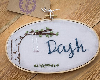 Custom Name Embroidery Hoop Art