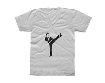 Mens Chuck Norris T-Shirt, Karate Kick, Martial Arts Shirt, Vintage Style White V Neck, Cool Gift for Husband, Birthday Gift, Christmas Gift