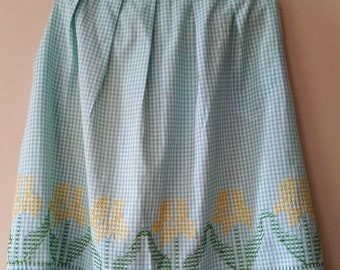Vintage Blue and White Pleated Half Apron