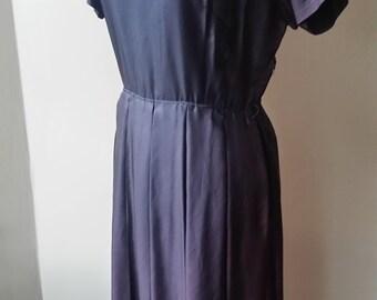 Classic Vintage Shiny Matte Black Pleated Dress