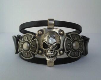 """Bracelet man """"SKULL LEGEND"""" pièce unique and handmade"""