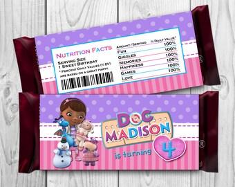 Doc McStuffins Candy Bar Wrapper - Doc McStuffins Chocolate label - Doc McStuffins Printables - Doc McStuffins Hershey