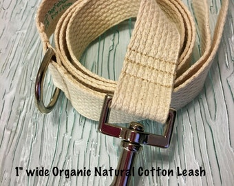 """Cotton Dog Leash 1"""" WIDE Eight Color Choices D-Ring for Keys Poo-Bag  Handmade Machine Washable"""