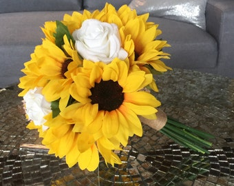 Sunflower Bouquet, Sunflower And Rose Bouquet, White Rose Bouquet, Sunflower Bouquet, Sunflower And Real Touch Rose Bouquet, Burlap, Sunflow