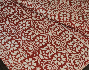Indian Hand Block Printed Cotton Fabric - Vegetable dyed Hand Block Printed Cotton / wooden block print fabric in Paisley Pattern by Yard