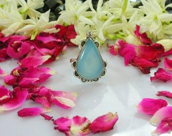 Sterling Silver Aqua Blue Gemstone ,Aqua Blue Gemstone Ring , Aqua Blue Bezel Ring,  Aqua Blue Chalcedony Tear Drop Jewelry,Tested Silver
