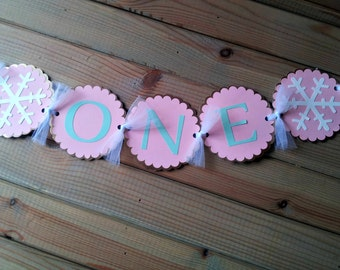 Snowflake High Chair Banner - Age Banner - Winter Party - First Birthday - Party Supplies