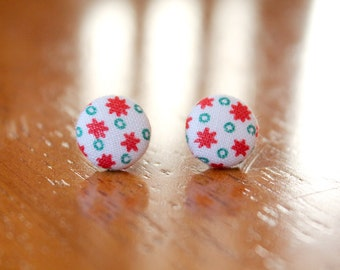 Mini Button Earrings - Red and Green Geometric Fabric Covered Button Earrings