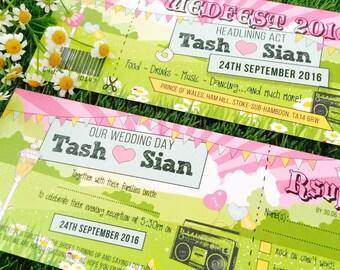 50 Pastel Shabby Chic Bunting Wedfest Festival Ticket Wedding Invitations!