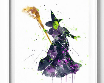 The Wizard of OZ Prints, Wicked Prints, Witch, Halloween Printables, Watercolor Painting, Home Decor, Kids Decor, Party Decor, Holiday Gifts