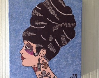 Tattooed lady on a stretched deep edge canvas.