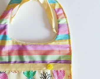 Baby bib and multicolour Pineapple pattern Rainbow