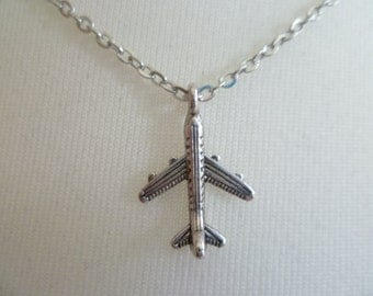 Airplane necklace,plane necklace,aeroplane necklace,silver airplane pendant,traveller,friendship gift,airplane jewelry,simple jewellery