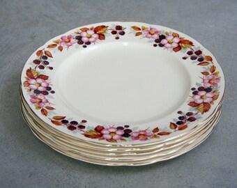 Vintage   Rare Alfred Meakin Blackberry Brambles Dinner Plates   X5   Wild Rose   1930's