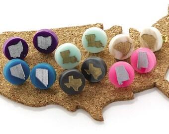 State Earrings, State Stud Earrings, State Acrylic Earrings