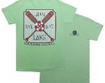 Southern Couture, classic live love lake  preppy adult short sleeve tee shirt