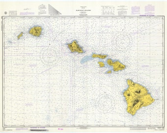 Hawaiian Islands Map - 1974