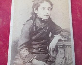 Antique Civil War Era CDV Photograph - Young Woman / F W Bacon Photographer Rochester, NY